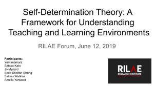 June 12 2019 forum_ Self determination theory_ A framework for understanding teaching and learning environments